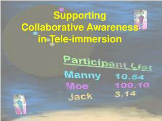 Supporting Collaborative Awareness in Tele-immersion