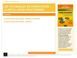 LES TECHNIQUES DE PURIFICATION : LA DISTILLATION FRACTIONNEE
