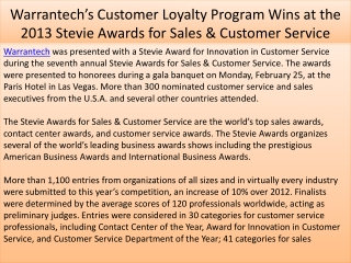 Warrantech's Customer Loyalty Program Wins at the 2013 Stevi