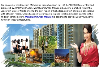 Mahaluxmi Green Mansion Call@8471023000 for 2 BHK Flats