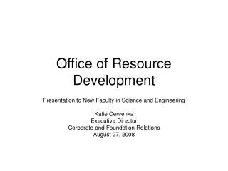 Office of Resource Development