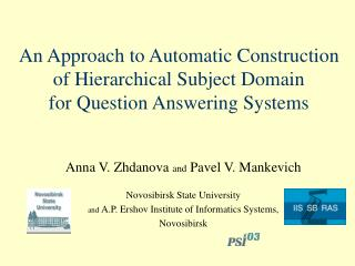 An Approach to Automatic Construction of Hierarchical Subject Domain  for Question Answering Systems