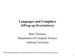 Languages and Compilers SProg og Overs ttere