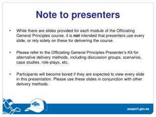 Note to presenters