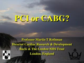 Professor Martin T Rothman Director Cardiac Research  Development Barts  The London NHS Trust London, England