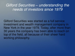 Gilford Securities-A reputed investment firm!