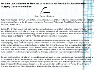 Dr. Sam Lam Selected As Member of International Faculty For
