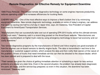 Remote Diagnostics: An Effective Remedy for Equipment Downti