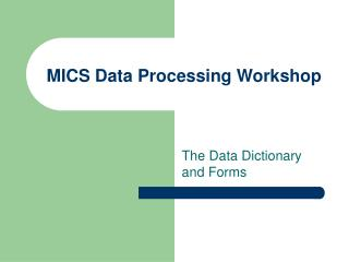 MICS Data Processing Workshop