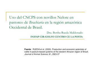 Uso del CNCPS con novillos Nelore en pastoreo de Brachiaria en la regi n amaz nica Occidental de Brasil.