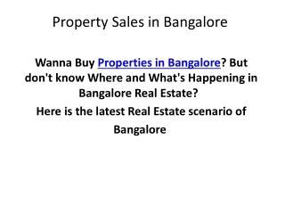 Properties in Bangalore