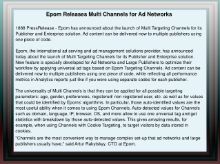 Epom Releases Multi Channels for Ad Networks
