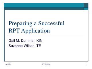 Preparing a Successful  RPT Application
