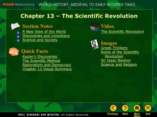 Chapter 13   The Scientific Revolution