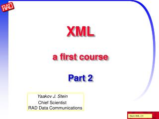 XML a first course Part 2