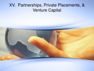 XV.  Partnerships, Private Placements,  Venture Capital