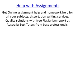Help with Assignments
