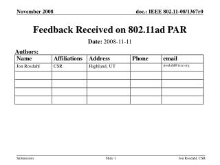 Feedback Received on 802.11ad PAR
