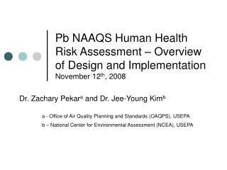 Pb NAAQS Human Health Risk Assessment   Overview of Design and Implementation November 12th, 2008