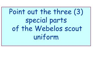 Point out the three 3 special parts  of the Webelos scout uniform