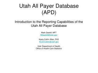 Utah All Payer Database APD