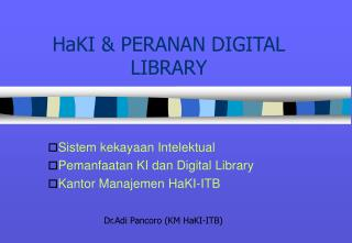 HaKI  PERANAN DIGITAL LIBRARY