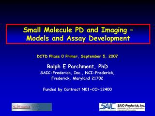 Small Molecule PD and Imaging    Models and Assay Development