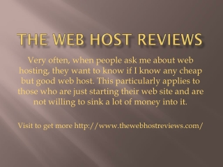 The web host reviews