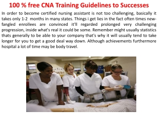 free CNA Training Guidelines to Successes