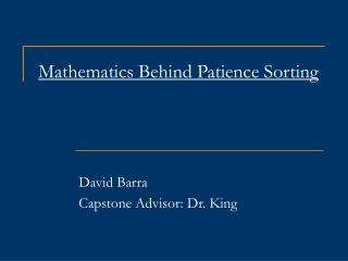 Mathematics Behind Patience Sorting