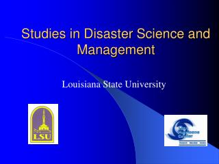 Studies in Disaster Science and Management