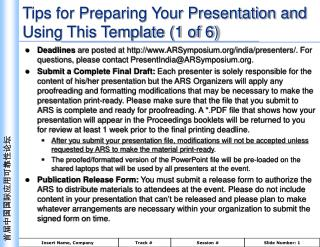 Tips for Preparing Your Presentation and Using This Template 1 of 6