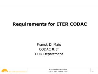 Requirements for ITER CODAC