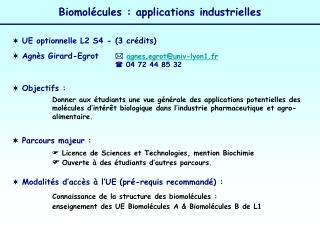 Biomol cules : applications industrielles