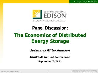 Panel Discussion:  The Economics of Distributed Energy Storage