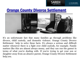 Orange County Divorce Settlement