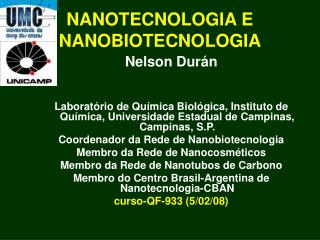 NANOTECNOLOGIA E NANOBIOTECNOLOGIA