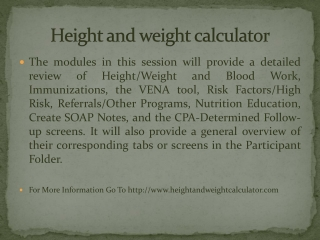 Height and weight calculator
