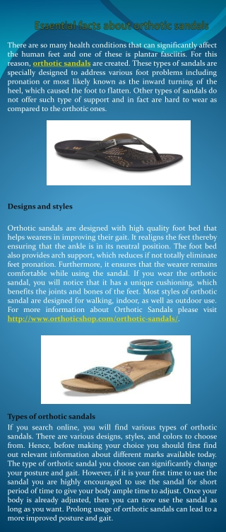 Essential facts about orthotic sandals