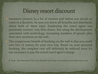 Disney resort discount