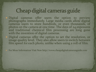 Cheap digital cameras guide