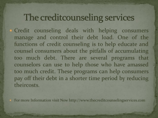 The credit counseling services