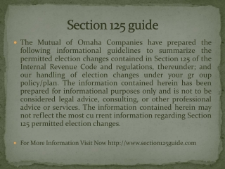Section 125 guide