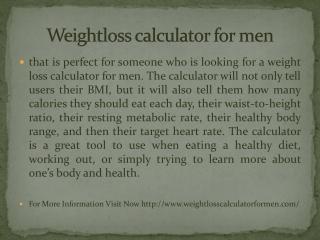 Weightloss calculator for men