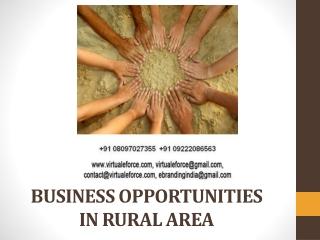 BUSINESS OPPORTUNITIES IN RURAL AREA