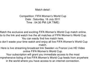 watch fifa women's world cup germany 2011 live streaming onl