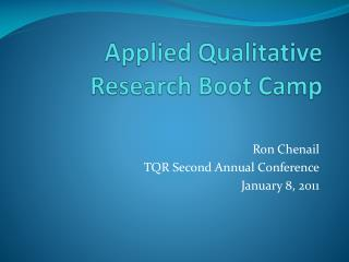 Applied Qualitative Research Boot Camp