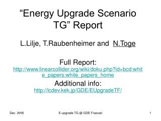 Energy Upgrade Scenario TG  Report