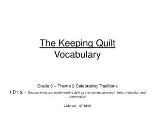 The Keeping Quilt  Vocabulary