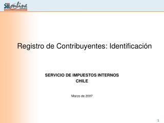 Registro de Contribuyentes: Identificaci n